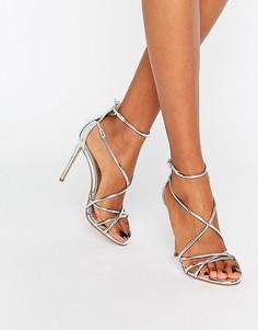 Серебристые босоножки на каблуке Office Spindle - Серебряный