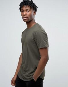 Состаренная футболка с асимметричным краем Only & Sons - Зеленый