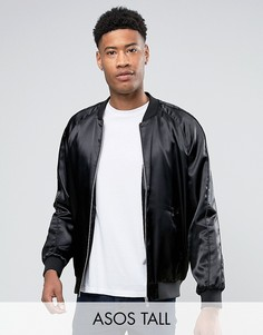 Черная атласная куртка-пилот ASOS TALL - Красный