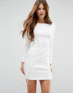 Корсетное платье мини с декоративной шнуровкой ASOS Premium - Белый