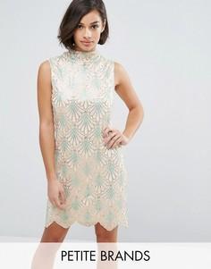 Yumi Petite Embellished Dress With Scalloped Hem - Кремовый