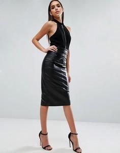 Кожаная юбка-карандаш с отделкой в стиле корсета ASOS - Черный