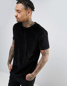 Antioch Oversized Velvet Drop Pocket T-Shirt with Logo Side Tab - Черный