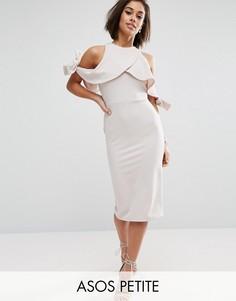 Фактурное платье миди с открытыми плечами и бантом ASOS PETITE - Коричневый
