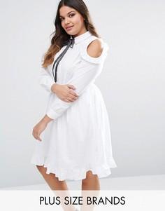 Lovedrobe Cold Shoulder Ruffle Detail Skater Dress - Белый