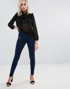 QED London Skinny Leg Trousers With Zip Detail - Темно-синий