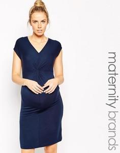 Платье с V-образным вырезом и драпировкой Mamalicious - Темно-синий Mama.Licious