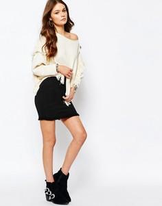 Мини-юбка с бахромой на подоле New Look - Черный