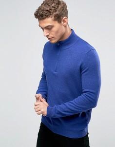 Джемпер из 100% мериносовой шерсти на молнии United Colors of Benetton - Синий