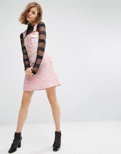 Короткая расклешенная жаккардовая юбка с узором в виде сердец House Of Holland - Розовый