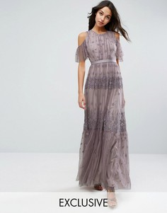 Платье макси с вышивкой и открытыми плечами Needle & Thread - Фиолетовый
