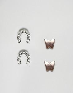 4 пары сережек-гвоздиков из серебра и с позолотой бабочка и подкова ASOS - Мульти