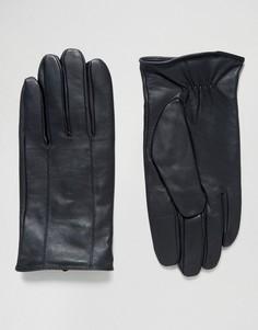 Черные кожаные перчатки Barneys - Темно-синий Barneys Originals