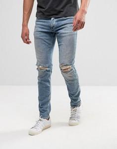 Синие джинсы скинни с рваными коленями Jack & Jones Intelligence - Синий