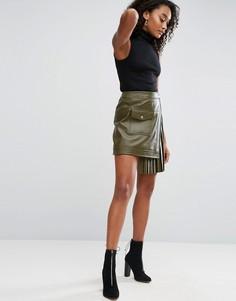 Кожаная юбка с присборенной вставкой ASOS - Зеленый