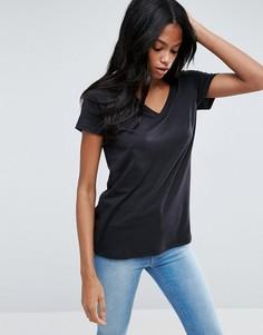 Свободная футболка с V-образным вырезом ASOS - Черный