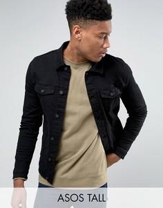 Черная приталенная джинсовая куртка ASOS TALL - Черный
