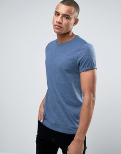 Синяя меланжевая футболка с отворотами на рукавах ASOS - Синий