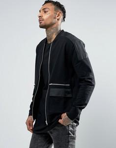 Трикотажная куртка-пилот с ткаными вставками и карманами на молнии ASOS - Черный