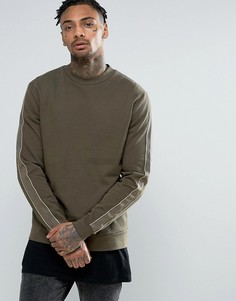 ASOS Sweatshirt with Side Tape in Khaki - Зеленый