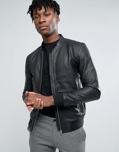 Кожаная куртка-пилот Selected Homme - Черный