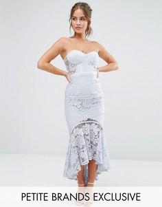 Кружевное платье-бандо миди Jarlo Petite - Синий