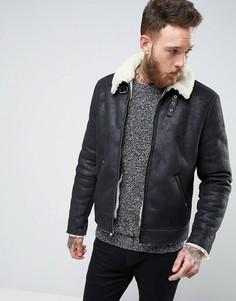 Черная куртка из искусственной цигейки ASOS - Черный