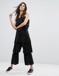 Ярусные расклешенные брюки House Of Sunny - Черный