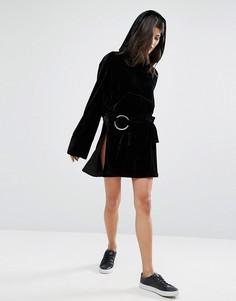 Бархатная мини-юбка с кольцом и разрезами по бокам House Of Sunny - Черный
