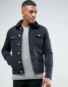 Выбеленная черная джинсовая куртка скинни с воротником из искусственного меха ASOS - Черный