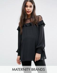 Топ для беременных с кружевной кокеткой и рюшами New Look Maternity - Черный