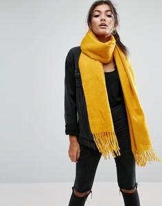 Длинный мягкий шарф с кисточками ASOS - Золотой