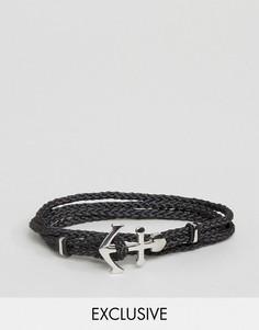 Черный плетеный браслет с якорем Seven London эксклюзивно для ASOS - Черный