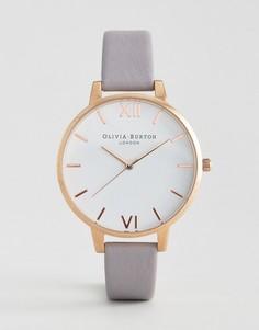 Часы с белым большим циферблатом и серо-сиреневым кожаным ремешком Olivia Burton - Серый