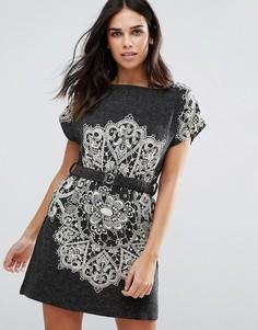 Цельнокройное платье с принтом пейсли Jasmine - Серый