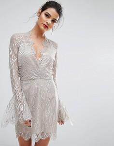 Платье с глубоким вырезом Bec & Bridge Mirror Palace - Серебряный