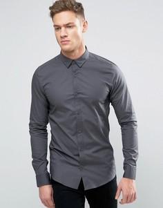 Зауженная рубашка со скрытой пуговичной планкой Only & Sons - Серый
