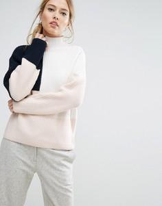 Джемпер крупной вязки в стиле колор блок Selected Femme - Розовый