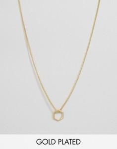 Позолоченное ожерелье с шестиугольной подвеской Pilgrim - Золотой