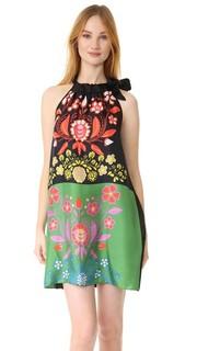 Платье с шарфом из шелка с принтом Cynthia Rowley