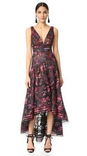 Вечернее платье-трапеция с цветочным рисунком Marchesa Notte