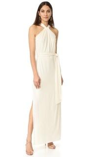 Вечернее платье с драпировкой и узлом Halston Heritage
