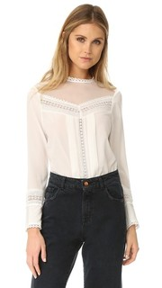Шелковая блуза с кружевными вставками Rebecca Taylor
