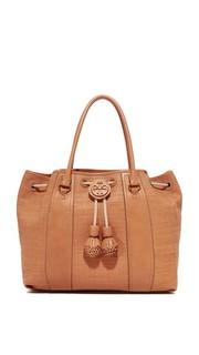Плетеная объемная сумка с короткими ручками Amalfi на завязке Tory Burch