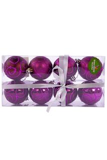 Н-р шаров 6 см, 8 шт., фиолет. НОВОГОДНЯЯ СКАЗКА