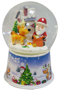 Шар Дед мороз с оленем 100 мм НОВОГОДНЯЯ СКАЗКА