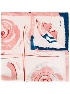 шарф с цветочным рисунком и логотипами Chanel Vintage