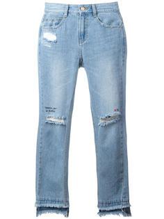 укороченные джинсы с рваной отделкой Steve J & Yoni P