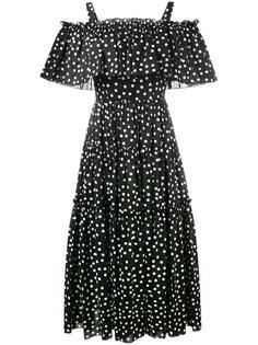 платье с узором в горох и открытыми плечами Dolce & Gabbana