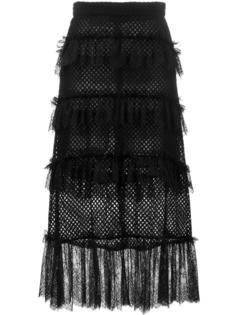 кружевная сетчатая юбка с бахромой Philosophy Di Lorenzo Serafini